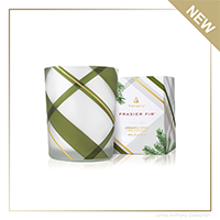 Thymes Frasier Fir Frosted Plaid Votive Candle | James Anthony Collection