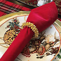 Hand Made Miniature Jingle Bells Napkin Rings - Gold | James Anthony Collection