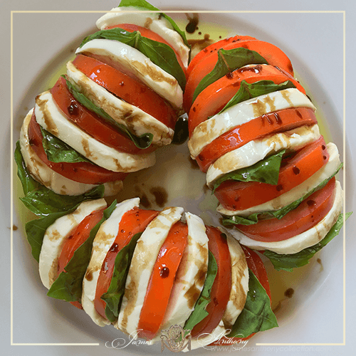 Hasselback Tomato Caprese Recipe with Ancient Olive Trees Balsamic Vinegar & Olive Oil | James Anthony Collection