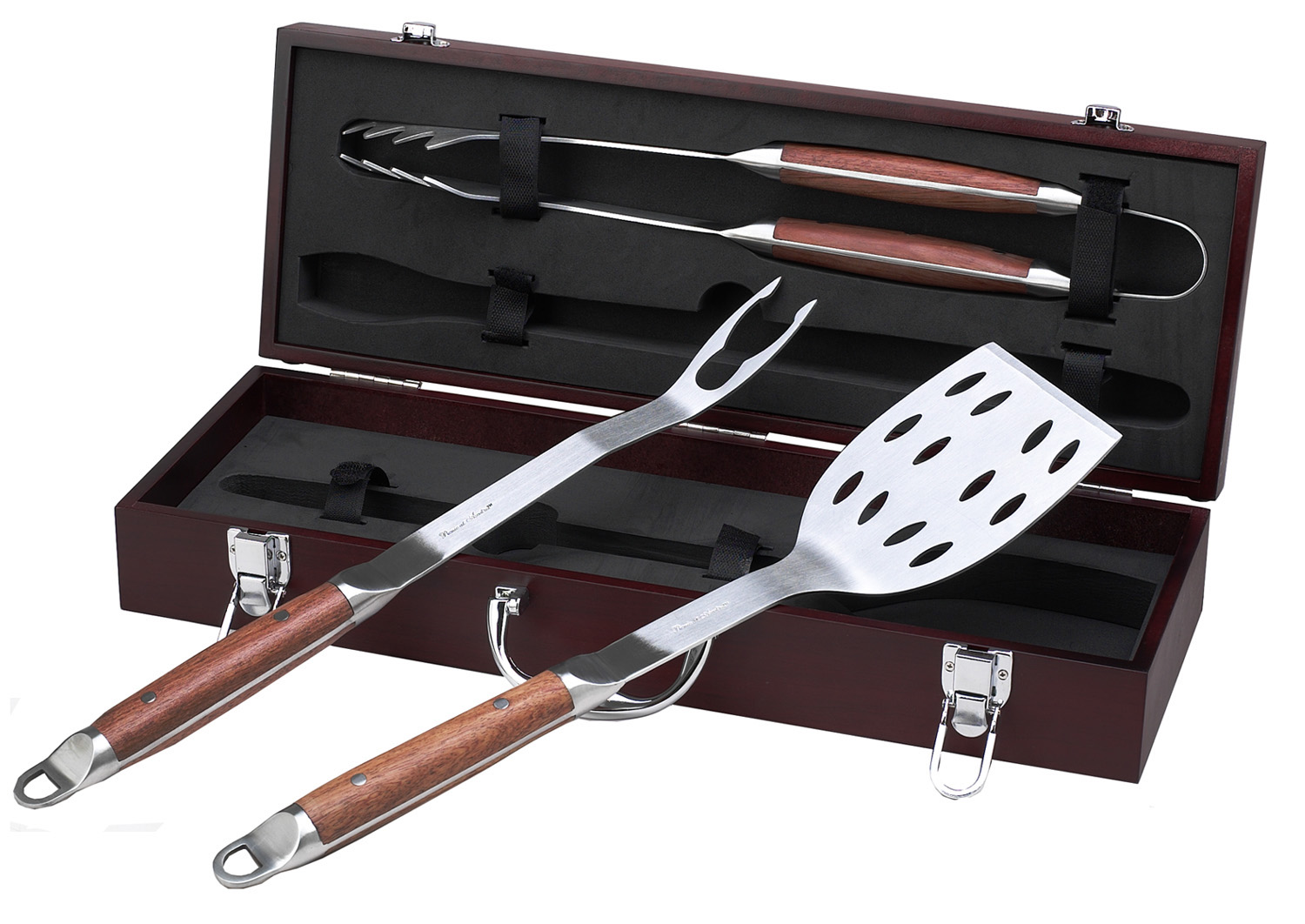 3-Piece BBQ Tool Set with Rosewood Handles | Groomsmen Gifts