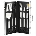 Picnic at Ascot 5 Piece Stainless Steel BBQ Barbecue Grill Tool Set with Aluminum Case | James Anthony Collection