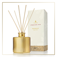Thymes Frasier Fir Gilded Petite Reed Diffuser Gold | James Anthony Collection
