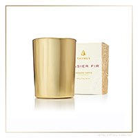 Thymes Frasier Fir Gold Votive Candle | James Anthony Collection