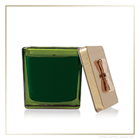 Thymes Frasier Fir Novelty Green Glass Gift Box Poured Candle | James Anthony Collection
