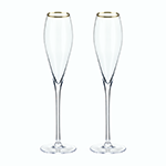 Viski Belmont Gold Rimmed Crystal Champagne Flutes | James Anthony Collection