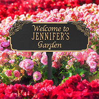 Whitehall Personalized Garden Welcome Plaque In Black/Gold | James Anthony Collection