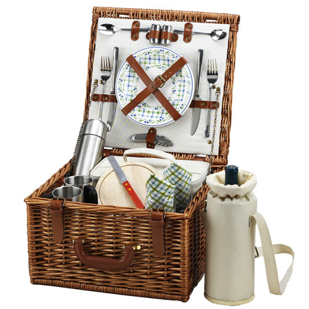 Picnic at Ascot Cheshire English-Style Willow Picnic Basket with Service for 2 w/Coffee Service - Gazebo