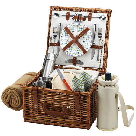 Picnic at Ascot Cheshire English-Style Willow Picnic Basket for 2 w/  Coffee Set and Blanket - Gazebo