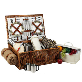 Picnic at Ascot Dorset Basket For 4 W/Coffee Set & Blanket - London