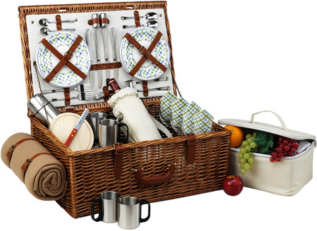 Picnic at Ascot Dorset Basket For 4 W/Coffee Set & Blanket - Gazebo
