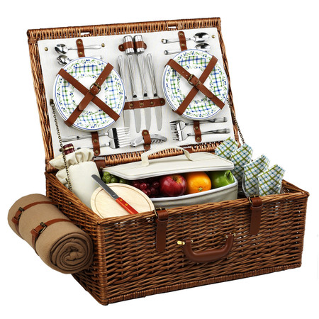 Picnic at Ascot Dorset English-Style Willow Picnic Basket For Four w/ Blanket - Gazebo