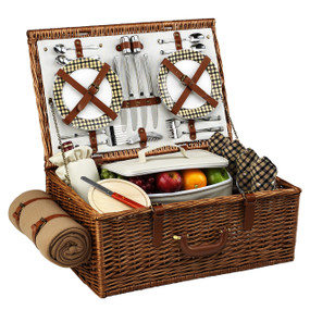 Picnic at Ascot Dorset English-Style Willow Picnic Basket For Four w/ Blanket - London