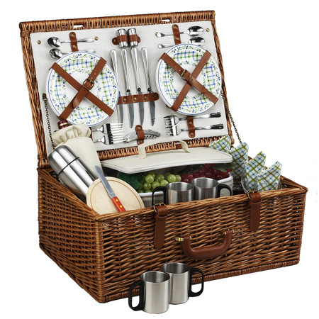 Picnic at Ascot Dorset English-Style Willow Picnic Basket For 4 W/Coffee Service - Gazebo