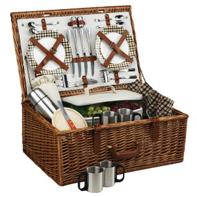 Picnic at Ascot Dorset English-Style Willow Picnic Basket For 4 W/Coffee Service - London
