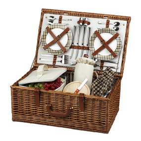 Picnic at Ascot Dorset English-Style Willow Picnic Basket with Service for 4 - London