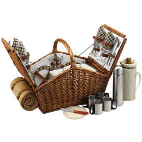 Picnic at Ascot Huntsman English-Style Willow Picnic Basket with Service for 4 w/ Coffee Set and Blanket - London