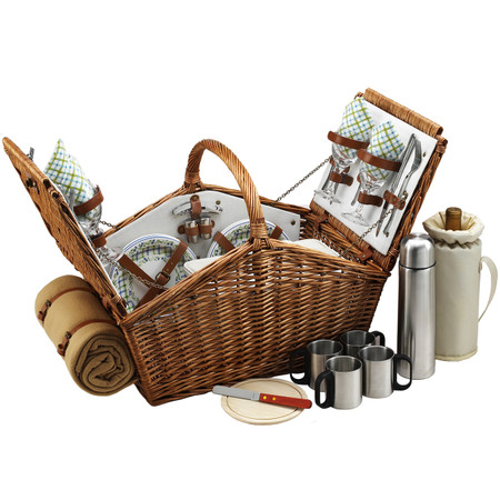 Picnic at Ascot Huntsman English-Style Willow Picnic Basket with Service for 4 w/ Coffee Set and Blanket - Gazebo
