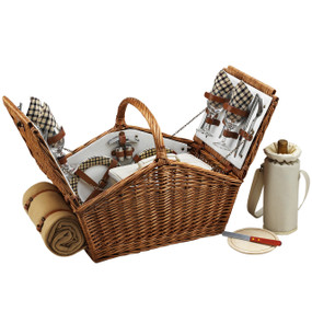 Picnic at Ascot Huntsman English-Style Willow Picnic Basket with Service for 4 w/ Blanket - London