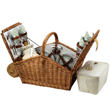 Picnic at Ascot Huntsman English-Style Willow Picnic Basket with Service for 4 w/ Blanket - Gazebo