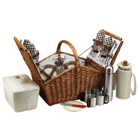 Picnic at Ascot Huntsman English-Style Willow Picnic Basket with Service for 4 w/ Coffee Set - London