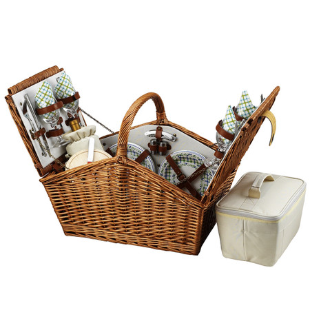 Picnic at Ascot Huntsman English-Style Willow Picnic Basket w/ Service for 4 - Gazebo