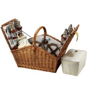 Picnic at Ascot Huntsman English-Style Willow Picnic Basket w/ Service for 4 - London