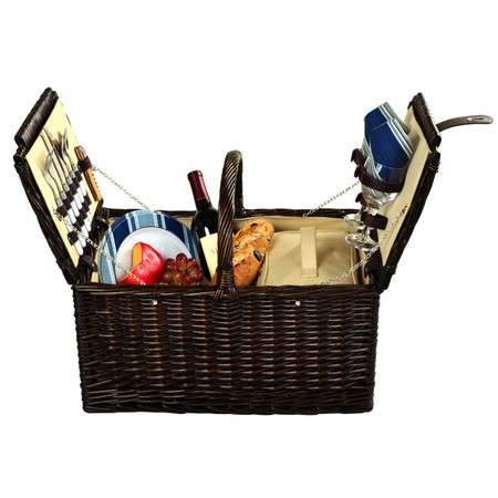 Picnic at Ascot Surrey Willow Picnic Basket with Service for 2 - Aegean