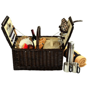 Picnic at Ascot Surrey Willow Picnic Basket with Service for 2 w/Blanket and Coffee Set - London