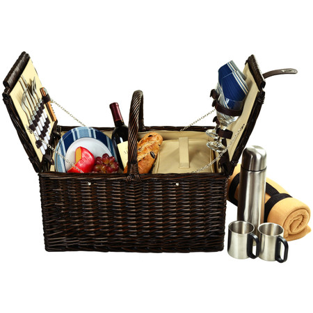 Picnic at Ascot Surrey Willow Picnic Basket with Service for 2 w/Blanket and Coffee Set - Aegean