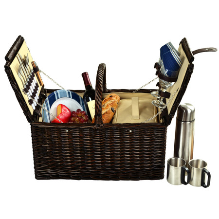 Picnic at Ascot Surrey Willow Picnic Basket with Service for 2 with Coffee Set - Aegean