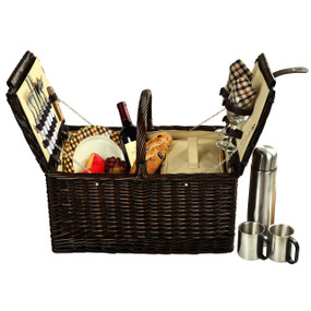 Picnic at Ascot Surrey Willow Picnic Basket with Service for 2 with Coffee Set - London