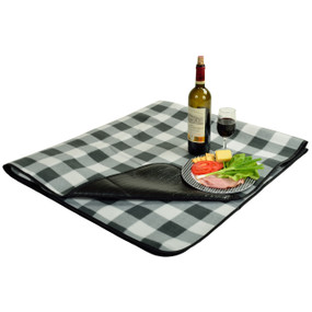 Picnic At Ascot Outdoor Picnic Blanket with Water Resistant Backing - Charcoal Plaid | James Anthony Collection
