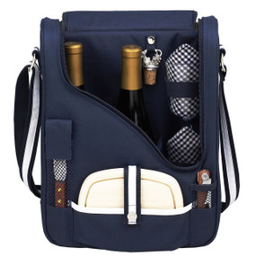 Picnic at Ascot Insulated Wine and Cheese Cooler for 2 - Navy | James Anthony Collection