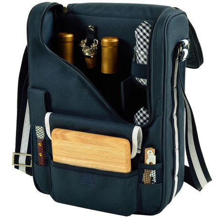 Picnic at Ascot Insulated Wine and Cheese Cooler Tote for 2 - Navy | James Anthony Collection