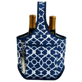 Picnic at Ascot 2 Bottle Wine Tote with Corkscrew - Trellis Blue | James Anthony Collection