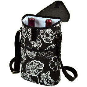 Picnic at Ascot Insulated 2 Bottle Wine Tote w/Shoulder Strap - Night Bloom | James Anthony Collection