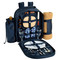 Picnic at Ascot - Deluxe Equipped 2 Person Picnic Backpack w/Cooler, Insulated Wine Holder & Blanket - Trellis Blue | James Anthony Collection