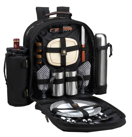 Picnic at Ascot 2 Person Picnic Backpack w/Coffee Service - Black | James Anthony Collection