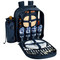 Picnic at Ascot 4 Person Picnic Backpack w/Cooler & Insulated Wine Holder - Trellis Blue | James Anthony Collection