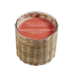 Hillhouse Naturals Grapefruit Persimmon Handwoven Candle 2 Wick | James Anthony Collection
