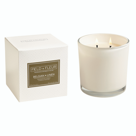 Hillhouse Naturals Belgian Linen White 2 Wick Candle | James Anthony Collection