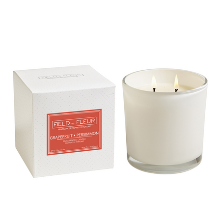 Hillhouse Naturals Grapefruit Persimmon White 2 Wick Candle | James Anthony Collection