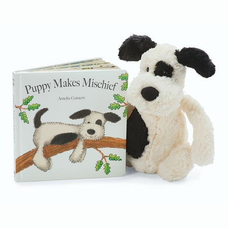 Jellycat Books & Friends - Puppy Makes Mischief /w Bashful Puppy Black & Cream | James Anthony Collection