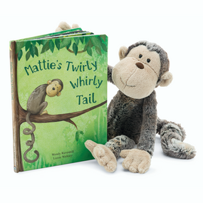 Jellycat Books & Friends - Mattie's Twirly Whirly Tail w/ Mattie Monkey | James Anthony Collection