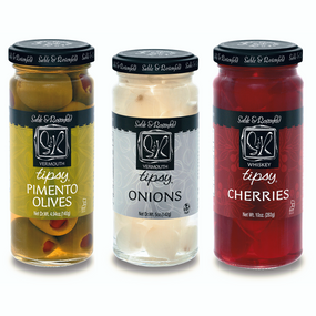 Sable & Rosenfeld Tipsy Trio - Tipsy Olives, Tipsy Onions & Tipsy Cherries | James Anthony Collection