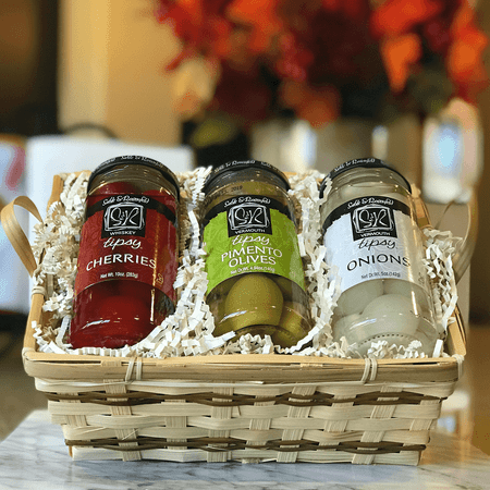 Sable & Rosenfeld Tipsy Trio Gift Basket - Tipsy Olives, Tipsy Onions & Tipsy Cherries | James Anthony Collection