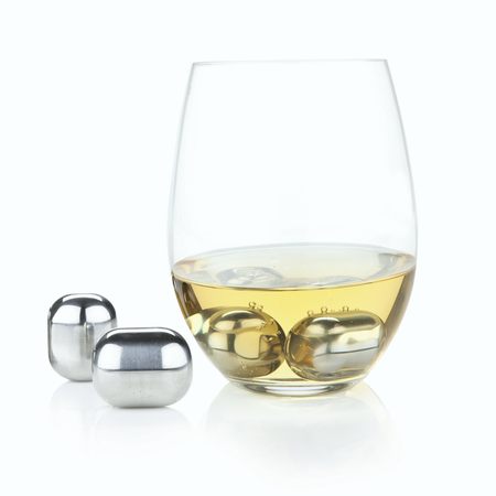 Viski Glacier Rocks - Stainless Steel Wine Globes (Set of 4) | James Anthony Collection