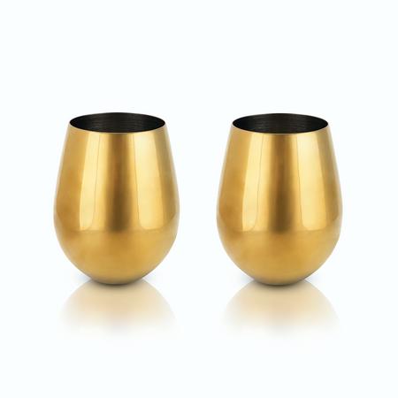 Viski Belmont Gold Stemless Wine Glasses | James Anthony Collection