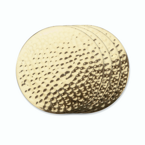 Viski Belmont Hammered Brass Coasters | James Anthony Collection
