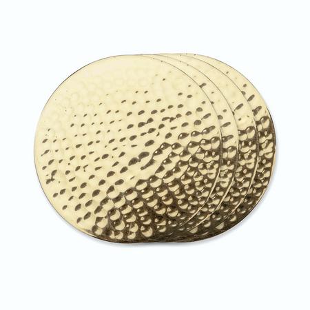 Viski Belmont Hammered Brass Coasters | James Anthony Collection